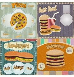 Set of vintage cards - fast food vector image