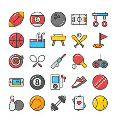 sports and games flat icons set 1 vector image vector image