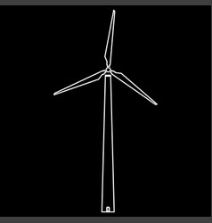 Wind turbine white color path icon vector
