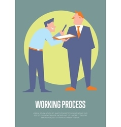 Working process banner with business people vector image