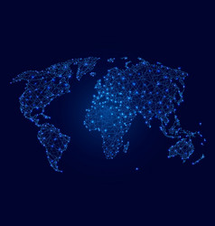 world map of blue luminous polygons points vector image