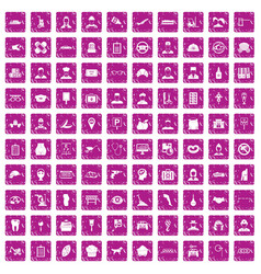 100 favorite work icons set grunge pink vector image vector image