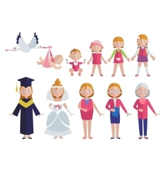 Age of woman flat style collection vector