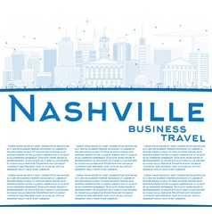 Outline nashville skyline with blue buildings vector