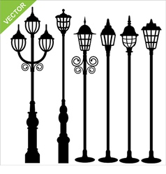 Street lamps silhouettes vector