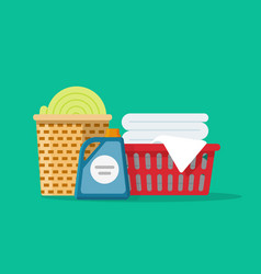Laundry linen or clothes in baskets vector