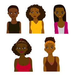 Fashion and hairstyle of african women vector