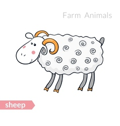 Cute cartoon sheep with thick fur isolated vector