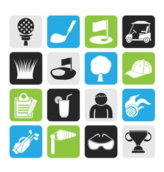 Silhouette golf and sport icons vector image