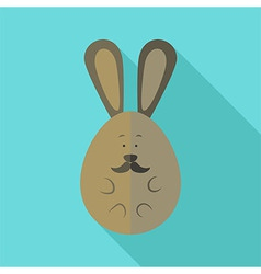 Easter rabbit egg shaped with moustache vector