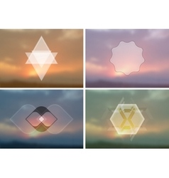 Abstract vintage hipster badges on blurred vector image