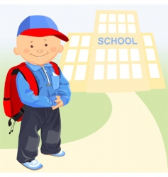 Little boy goes to school vector