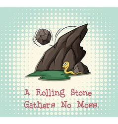 Rolling stone gathers no moss vector