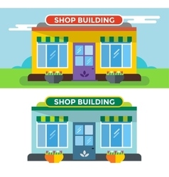 Shop buildings isolated vector