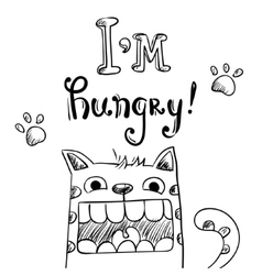 Cartoon of hungry cat with huge mouth vector
