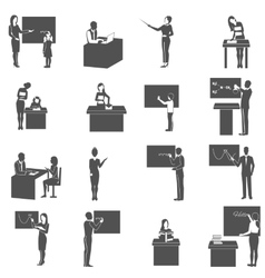 Teacher at blackboard in class icons set vector