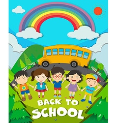 Back to school theme with school bus and kids vector