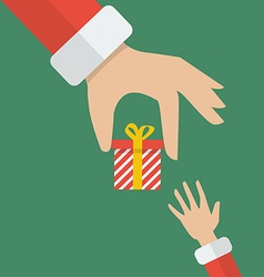 Santa hand giving a gift box to kid vector