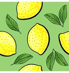 Seamless hand drawn lemon pattern vector