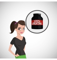 Healthy lifestyle cartoon woman design vector