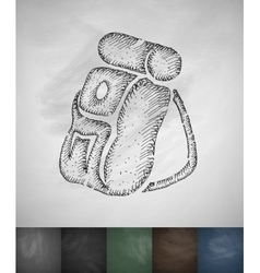 Backpack icon hand drawn vector