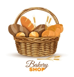 Bakery Basket With Bread Realistic Image vector image vector image