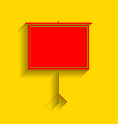 blank projection screen red icon with vector image