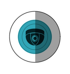 Blue symbol video camera interior icon vector