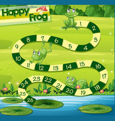 Boardgame template with green frogs in park vector