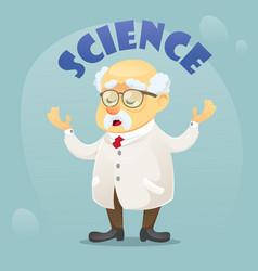 cartoon old funny scientist vector image vector image