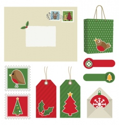 christmas postage vector image vector image