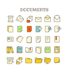 Different paper documents thin line color icons vector