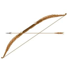 Elven longbow and arrow vector