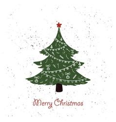 hand drawn vintage christmas tree vector image vector image