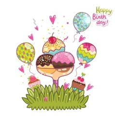 Happy Birthday card background ice cream vector image vector image