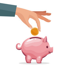 Human hand depositing coin in a money piggy bank vector