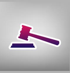 Justice hammer sign purple gradient icon vector