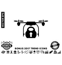 Load cargo drone flat icon with 2017 bonus trend vector