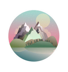 Mountains lake forest landscape vector
