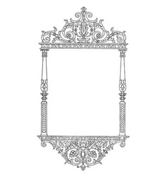 Ornate frame have a face bottom of this pattern vector