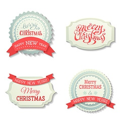 set of Christmas badges and labels vector image