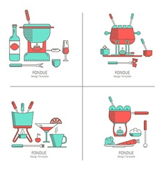 set of fondue party vector image