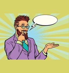 smiling bearded hipster promoter gesture of vector image