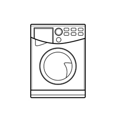 Symbol of washing machine line art vector