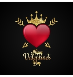 Valentines Day Heart Gold lettering Background vector image vector image