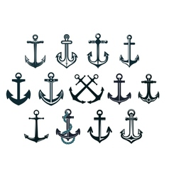Vintage marine anchors vector image