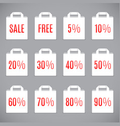 white sale shopping bags vector image
