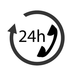 24h phone support icon vector