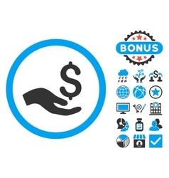 Donation flat icon with bonus vector