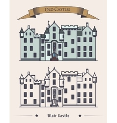 Scotland blair castle old architecture exterior vector